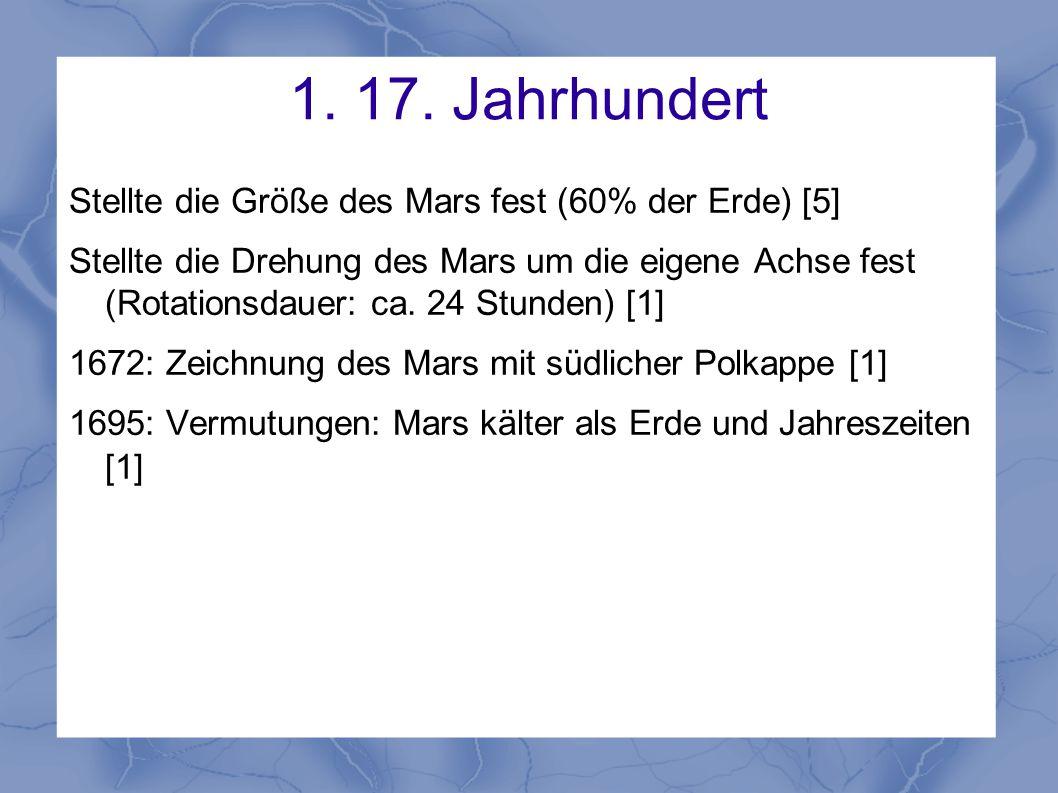 1. 17. Jahrhundert Stellte die Größe des Mars fest (60% der Erde) [5]